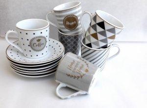 Linea CoffeeMania di Easylife || Set 6 tazzine da caffè con piattino in porcellana